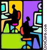 Vector Clip Art graphic  of a people at their work stations