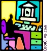 person working at their work station Vector Clip Art graphic