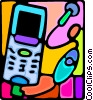 cellular phone with headset Vector Clipart illustration