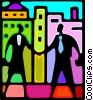 Vector Clipart illustration  of a business people shaking hands