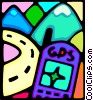 Vector Clip Art graphic  of a portable gps