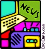 Vector Clipart graphic  of a portable radio and computer