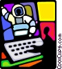 Space shuttle control room Vector Clipart illustration