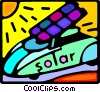Vector Clip Art picture  of a solar powered car
