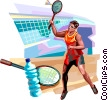 Vector Clipart picture  of a Badminton player