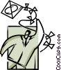 Vector Clip Art image  of a Kite Flying
