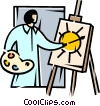 Painter with palette and canvass Vector Clip Art image