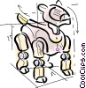 Vector Clip Art graphic  of a robotic dog