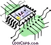 Vector Clip Art image  of a Chips and Processors