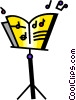 Vector Clip Art image  of a Sheet Music and Stands