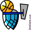 Vector Clipart picture  of a Basketballs and Nets