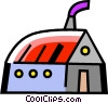 Vector Clip Art graphic  of a Barns and Farms