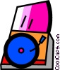 Vector Clipart illustration  of a Contemporary Record Players