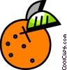 Orange with leaf Vector Clip Art picture