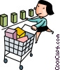 woman grocery shopping Vector Clip Art image