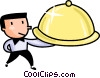 Vector Clipart picture  of a Waiter serving food