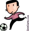 boy playing soccer Vector Clipart illustration