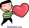 Man with a valentines day heart Vector Clip Art picture