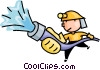fireman fighting a fire Vector Clip Art image