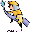 Vector Clip Art graphic  of a fireman fighting a fire