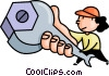 Vector Clip Art graphic  of a female mechanic with a wrench