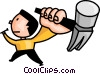 man hammering a nail Vector Clipart picture