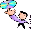 Vector Clipart picture  of a man spinning a CD on his