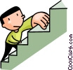 Vector Clipart graphic  of a man climbing the stairs