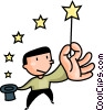 magician waving his magic wand Vector Clipart illustration