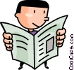 Vector Clip Art picture  of a man reading the newspaper