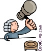 judge hammering his gavel Vector Clipart illustration