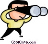 Vector Clipart image  of a man searching with binoculars
