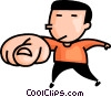 Vector Clip Art graphic  of a man pointing his finger