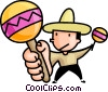 Vector Clip Art image  of a man playing the maracas