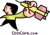 Vector Clipart illustration  of a man throwing a dart