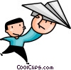 Boy with a paper airplane Vector Clipart graphic