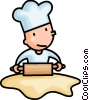 Vector Clip Art picture  of a baker rolling dough