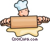 baker rolling dough Vector Clipart graphic