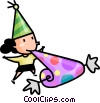 Vector Clip Art picture  of a girl having fun at a birthday
