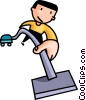 Vector Clip Art picture  of a man vacuuming