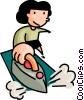 woman ironing clothes Vector Clip Art graphic