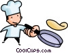 Vector Clipart image  of a chef flipping a pan cake