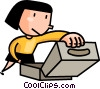 Vector Clipart image  of a woman looking into a box