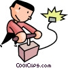man setting off explosives Vector Clipart graphic