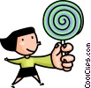 Vector Clipart graphic  of a Girl with a lolly pop