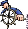 Vector Clipart graphic  of a Captain at the helm