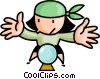 Vector Clip Art graphic  of a fortune teller looking into