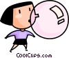 girl blowing a bubble Vector Clip Art graphic