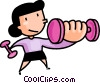 Vector Clip Art image  of a Girl lifting weights