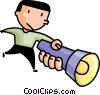 Vector Clip Art picture  of a man with a flashlight